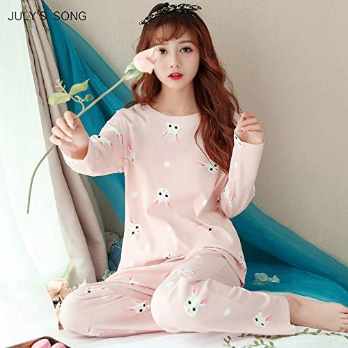 Conjunto de Pijamas para Mujer Primavera y otoño Impresión Fina de Dibujos Animados Manga Larga Pijamas Lindos Servicio Informal para el...