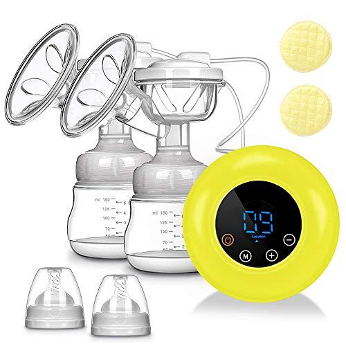 Sacaleches Eléctrico, SUMGOTT Recargable doble saca leche electrico con 3 modos y 9 niveles de succión