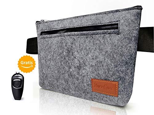 PurrCave® - Bolsa para perros de PurrCave, incluye 2 en 1 sacaleches para perros, en fieltro gris, estilosa bolsa para el entrenamiento de...